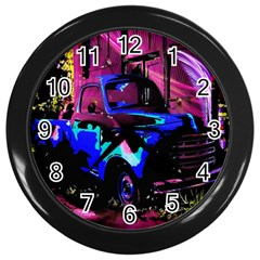 Abstract Artwork Of A Old Truck Wall Clocks (black)