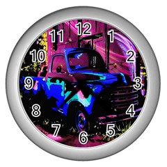 Abstract Artwork Of A Old Truck Wall Clocks (Silver)