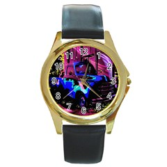 Abstract Artwork Of A Old Truck Round Gold Metal Watch