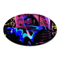 Abstract Artwork Of A Old Truck Oval Magnet