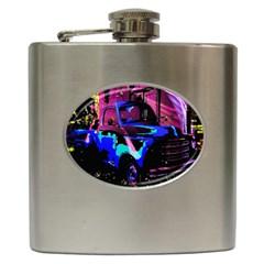 Abstract Artwork Of A Old Truck Hip Flask (6 Oz)