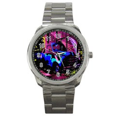 Abstract Artwork Of A Old Truck Sport Metal Watch