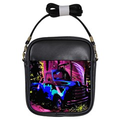 Abstract Artwork Of A Old Truck Girls Sling Bags