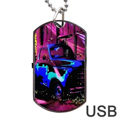 Abstract Artwork Of A Old Truck Dog Tag Usb Flash (two Sides)