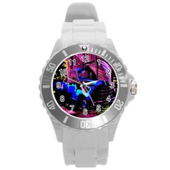 Abstract Artwork Of A Old Truck Round Plastic Sport Watch (l)