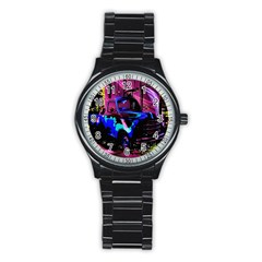 Abstract Artwork Of A Old Truck Stainless Steel Round Watch