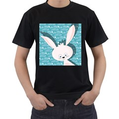 Easter bunny  Men s T-Shirt (Black) (Two Sided)