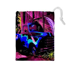 Abstract Artwork Of A Old Truck Drawstring Pouches (large)