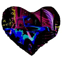 Abstract Artwork Of A Old Truck Large 19  Premium Flano Heart Shape Cushions