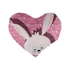 Easter bunny  Standard 16  Premium Flano Heart Shape Cushions