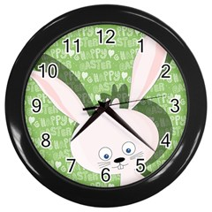Easter bunny  Wall Clocks (Black)