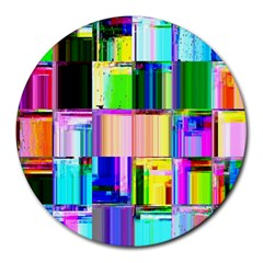 Glitch Art Abstract Round Mousepads