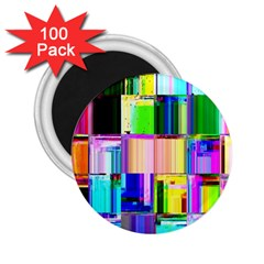 Glitch Art Abstract 2 25  Magnets (100 Pack)