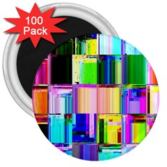 Glitch Art Abstract 3  Magnets (100 Pack)