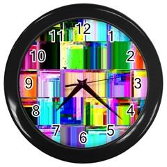 Glitch Art Abstract Wall Clocks (black)
