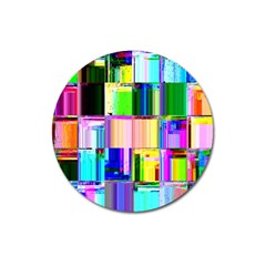 Glitch Art Abstract Magnet 3  (round)