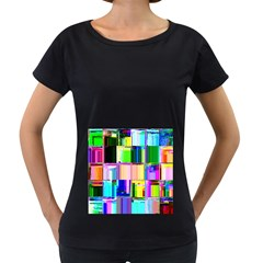 Glitch Art Abstract Women s Loose Fit T Shirt (black)