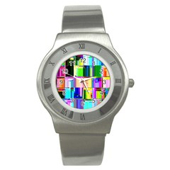 Glitch Art Abstract Stainless Steel Watch