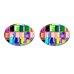 Glitch Art Abstract Cufflinks (oval)