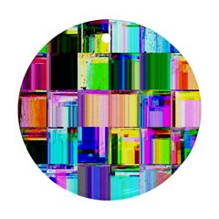Glitch Art Abstract Round Ornament (Two Sides)
