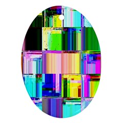 Glitch Art Abstract Oval Ornament (Two Sides)