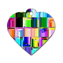 Glitch Art Abstract Dog Tag Heart (two Sides)