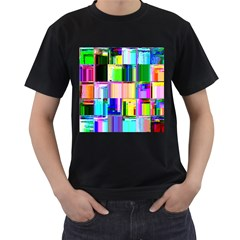Glitch Art Abstract Men s T-Shirt (Black)