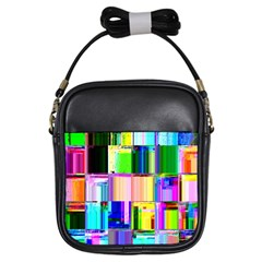 Glitch Art Abstract Girls Sling Bags