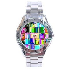 Glitch Art Abstract Stainless Steel Analogue Watch