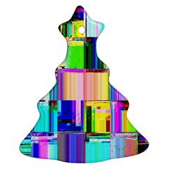 Glitch Art Abstract Christmas Tree Ornament (Two Sides)