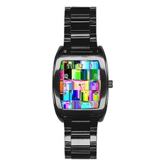 Glitch Art Abstract Stainless Steel Barrel Watch