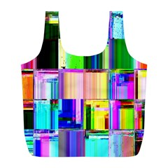 Glitch Art Abstract Full Print Recycle Bags (L)
