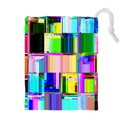 Glitch Art Abstract Drawstring Pouches (Extra Large)