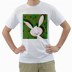 Easter bunny  Men s T-Shirt (White) (Two Sided)