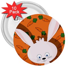 Easter bunny  3  Buttons (10 pack)