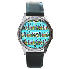 Colourful Street A Completely Seamless Tile Able Design Round Metal Watch