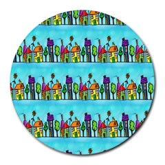 Colourful Street A Completely Seamless Tile Able Design Round Mousepads