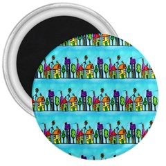 Colourful Street A Completely Seamless Tile Able Design 3  Magnets
