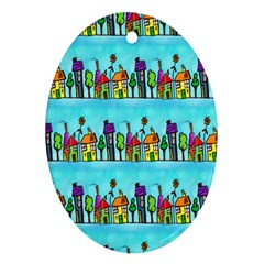 Colourful Street A Completely Seamless Tile Able Design Ornament (Oval)