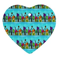 Colourful Street A Completely Seamless Tile Able Design Ornament (heart)