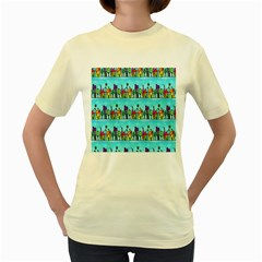 Colourful Street A Completely Seamless Tile Able Design Women s Yellow T Shirt