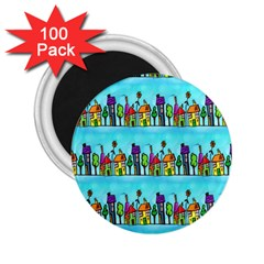 Colourful Street A Completely Seamless Tile Able Design 2 25  Magnets (100 Pack)