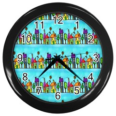 Colourful Street A Completely Seamless Tile Able Design Wall Clocks (Black)