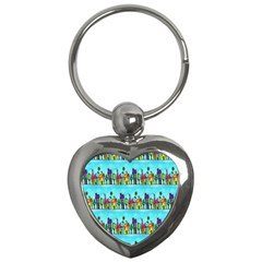 Colourful Street A Completely Seamless Tile Able Design Key Chains (Heart)