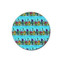 Colourful Street A Completely Seamless Tile Able Design Rubber Coaster (Round)