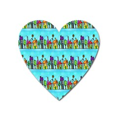 Colourful Street A Completely Seamless Tile Able Design Heart Magnet