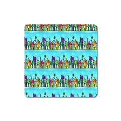 Colourful Street A Completely Seamless Tile Able Design Square Magnet