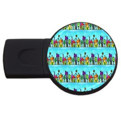 Colourful Street A Completely Seamless Tile Able Design USB Flash Drive Round (1 GB)
