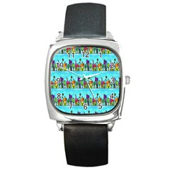 Colourful Street A Completely Seamless Tile Able Design Square Metal Watch