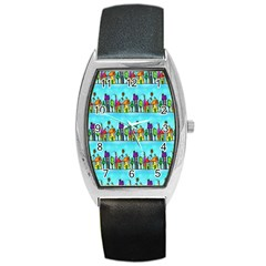 Colourful Street A Completely Seamless Tile Able Design Barrel Style Metal Watch